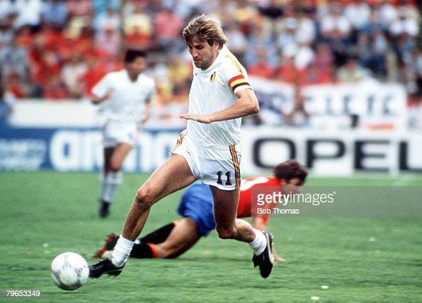 World Cup Finals, Puebla, Mexico, 22nd June Belgium 1 v Spain 1, , Belgium's Jan Ceulemans on the ball