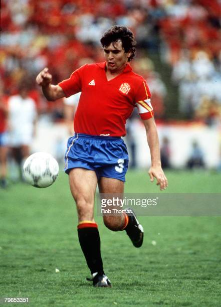 World Cup Finals Puebla Mexico 22nd June Belgium 1 v Spain 1 Spain's Antonio Camacho on the ball