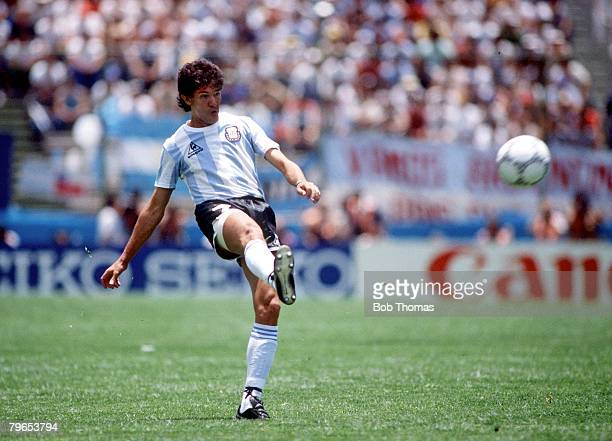 World Cup Finals Puebla Mexico 5th June 1986 Italy 1 v Argentina 1 Argentina's Jorge Burruchaga