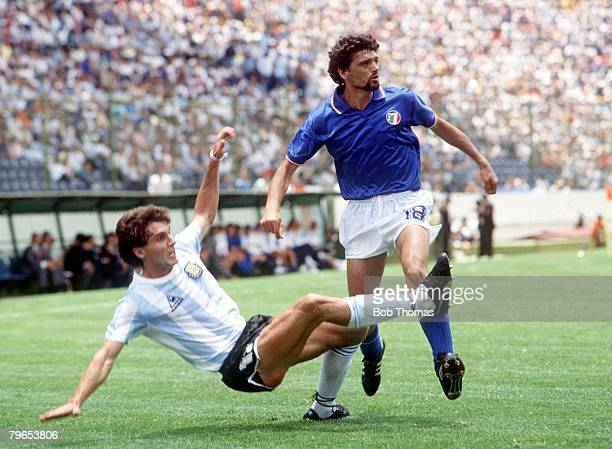 World Cup Finals Puebla Mexico 5th June 1986 Italy 1 v Argentina 1 Argentina's Oscar Ruggeri clears from Italy's Alessandro Altobelli