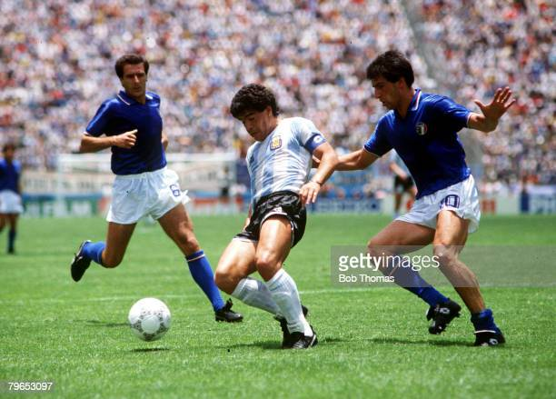 World Cup Finals Puebla Mexico 5th June Italy 1 v Argentina 1 Argentina's Diego Maradona is challenged by Italy's Salvatore Bagni