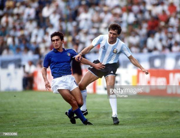 World Cup Finals Puebla Mexico 5th June Italy 1 v Argentina 1 Italy's Giuseppe Galderisi with Argentina's Oscar Garre