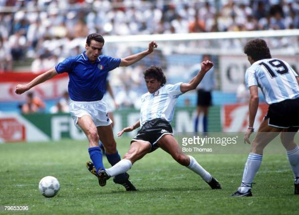 World Cup Finals Puebla Mexico 5th June Italy 1 v Argentina 1 Italy's Giuseppe Bergomi is tackled by Argentina's Ricardo Giusti
