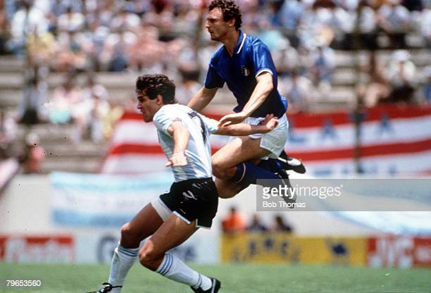 World Cup Finals Puebla Mexico 5th June Italy 1 v Argentina 1 Argentina's Jorge Burruchaga battles with Italy's airborne Pietro Vierchowod