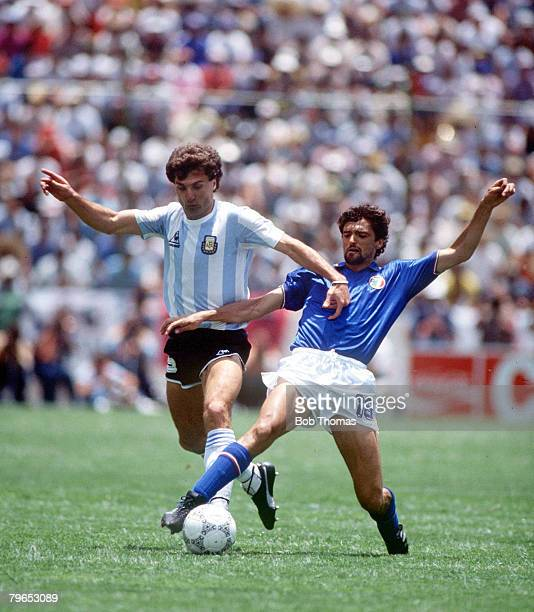 World Cup Finals Puebla Mexico 5th June Italy 1 v Argentina 1 Argentina's Oscar Ruggeri fights for the ball with Italy's Alessandro Altobelli