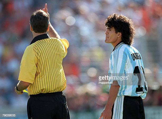 World Cup Finals Quarter Final Marseille France 4th JULY 1998 Argentina 1 v Holland 2 Argentina's Ariel Ortega is sent off by the referee