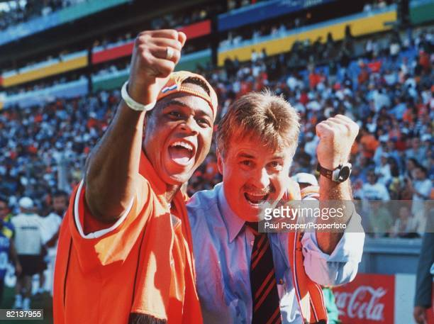 World Cup Finals Quarter Final Marseille France 4th JULY 1998 Argentina 1 v Holland 2 Holland's coach and player Patrick Kluivert celebrate their...