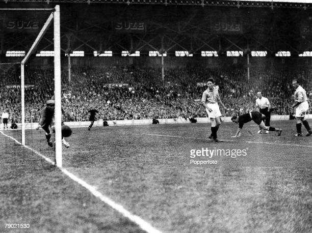World Cup Finals Quarter Final tie Colombes Stadium Paris 12th June 1938 France v Italy Italy's third goal is scored by Silvio Piola 3rd from right...