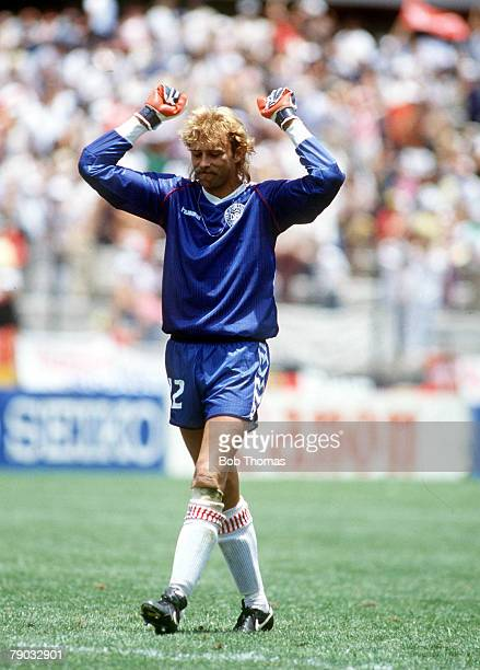 World Cup Finals Queretaro Mexico 13th June Denmark 2 v West Germany 0 Denmark's goalkeeper Troels Rasmussen celebrates during the match