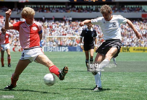 World Cup Finals Queretaro Mexico 13th June Denmark 2 v West Germany 0Denmark's Morten Olsen tries to block a shot from West Germany's Rudi Voeller