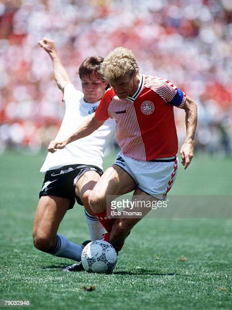 World Cup Finals Queretaro Mexico 13th June Denmark 2 v West Germany 0Denmark's Morten Olsen is challenged for the ball by West Germany's Lothar...