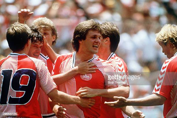 World Cup Finals Queretaro Mexico 13th June Denmark 2 v West Germany 0 Denmark's Jan Molby celebrates with teammates after the match
