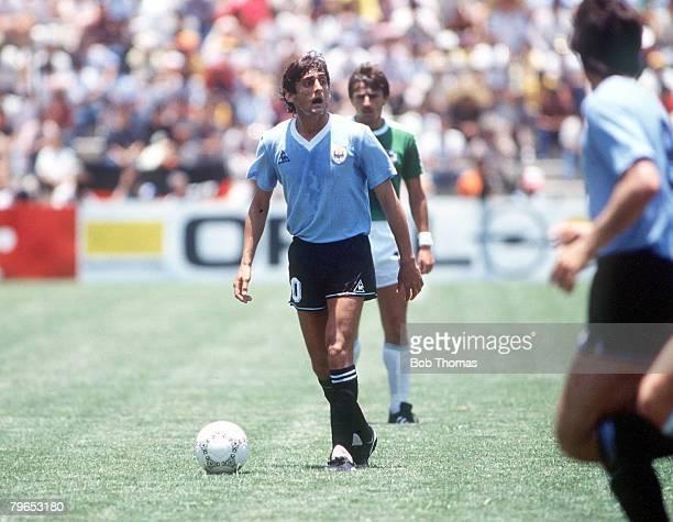 World Cup Finals Queretaro Mexico 4th June 1986 West Germany 1 v Uruguay 1 Uruguay's Enzo Francescoli