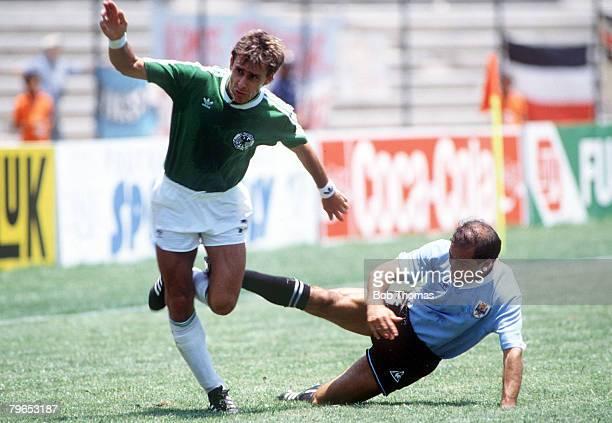 World Cup Finals Queretaro Mexico 4th June 1986 West Germany 1 v Uruguay 1 Uruguay's Jose Batista tries to tackle West Germany's Pierre Littbarski