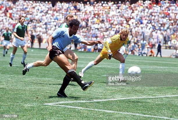 World Cup Finals Queretaro Mexico 4th June 1986 West Germany 1 v Uruguay 1 Uruguay's Alza Mendi scores the first goal past West Germany's goalkeeper...