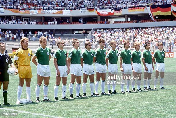World Cup Finals Queretaro Mexico 4th June 1986 West Germany 1 v Uruguay 1 The West Germany team line up before the match