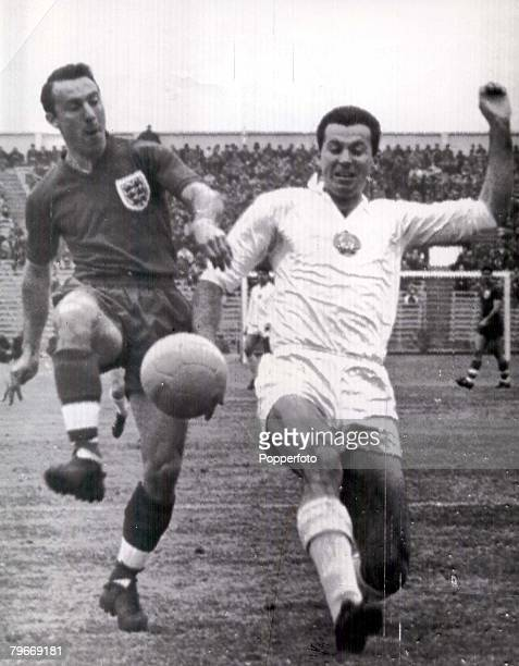 World Cup Finals Rancagua, Chile, 7th June England 1 v Bulgaria 0, England's Jimmy Greaves races for the ball with Bulgaria's Ivan Dimitrov during...