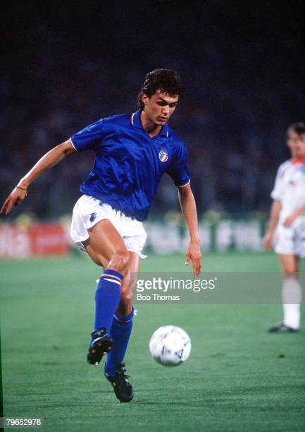 World Cup Finals Rome Italy 19th June Italy 2 v Czechoslovakia 0 Italy's Paolo Maldini on the ball