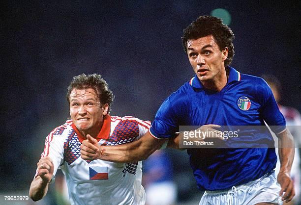 World Cup Finals Rome Italy 19th June Italy 2 v Czechoslovakia 0 Italy's Paolo Maldini with Czechoslovakia's Ivan Hasek