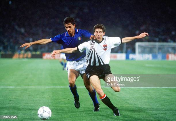 World Cup Finals Rome Italy 9th June Italy 1 v Austria 0 Italy's Paolo Maldini battles for the ball with Austria's Alfred Hortnagel