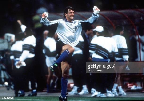 World Cup Finals, Rome, Italy, 9th June Italy 1 v Austria 0, Italy's Walter Zenga celebrates the winning goal scored by substitute Salvatore Schillaci