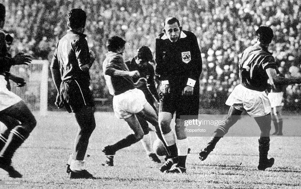World Cup Finals, 1962. Santiago, Chile. 2nd June, 1962. Italy 0 v Chile 2. English referee Ken Aston who sent off two Italian players in the group two match dubbed as 'The Battle of Santiago', photographed during the game . : News Photo