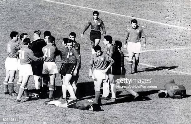 World Cup Finals Santiago Chile 2nd June Italy 0 v Chile 2 English referee Ken Aston tries to bring order after fighting broke out between Italian...