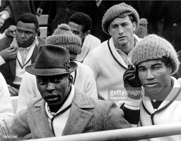 World Cup Finals Santiago Chile Brazil's Pele Jair Marinho and Bellini watching a match at the Nacional Stadium during the tournament