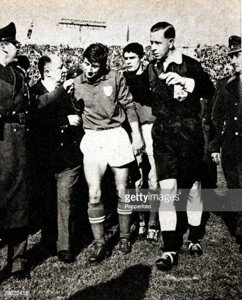 World Cup Finals SantiagoChile 2nd June 1962 Chilev Italy Referee Ken Aston England sends off Italy's Giorgio Ferrini escorting him from the pitch...