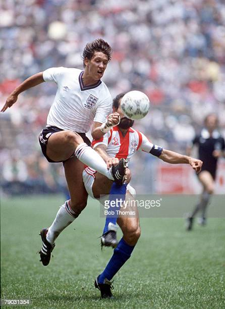 World Cup Finals Second Phase Azteca Stadium Mexico 18th June England 3 v Paraguay 0 England's Gary Lineker beats Paraguay's Rogelio Delgado to the...