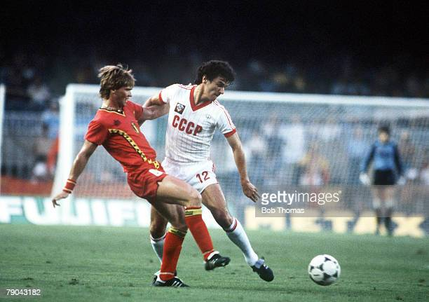 World Cup Finals Second Phase Barcelona Spain 1st July USSR 1 v Belgium 0 USSR's Andre Bal is tackled by Belgium's Frank Vercauteren