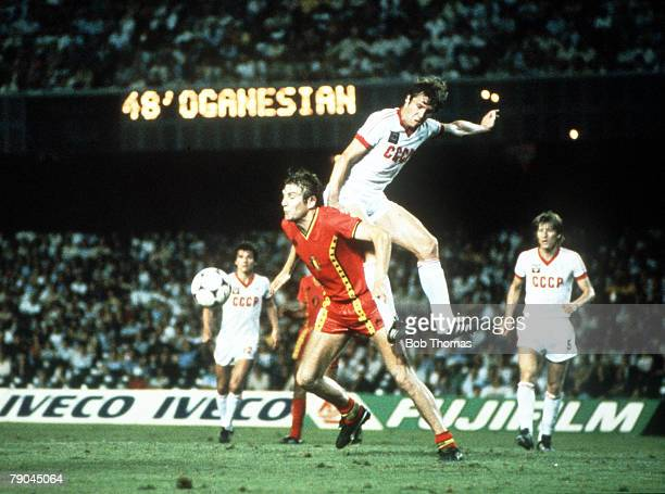 World Cup Finals Second Phase Barcelona Spain 1st July USSR 1 v Belgium 0 USSR's Anatoi Demianenko beats Belgium's Jan Ceulemans in the air