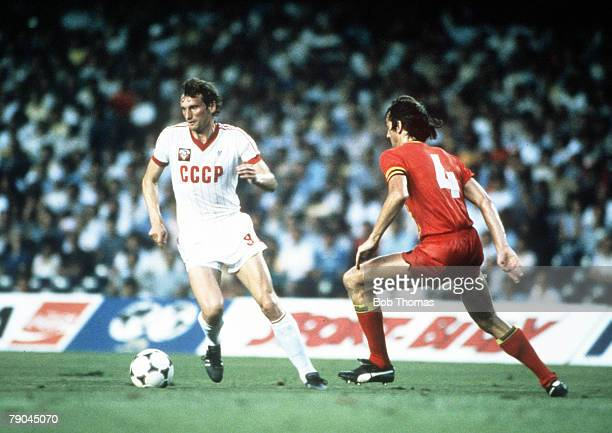 World Cup Finals Second Phase Barcelona Spain 1st July USSR 1 v Belgium 0 USSR's Yuri Gavrilov is faced by Belgium's Walter Meeuws