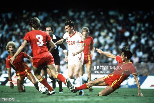 World Cup Finals Second Phase Barcelona Spain 1st July USSR 1 v Belgium 0 USSR's Yuri Gavrilov is tackled by Belgium's Walter Meeuws as Luc...