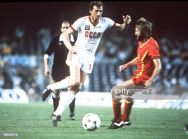 World Cup Finals Second Phase Barcelona Spain 1st July USSR 1 v Belgium 0 USSR's Yuri Gavrilov beats Belgium's Luc Millecamps
