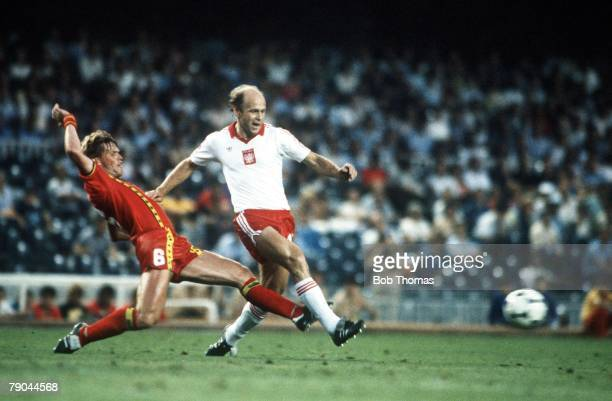 World Cup Finals Second Phase Barcelona Spain 28th June Poland 3 v Belgium 0 Poland's Grzegorz Lato is tackled by Belgium's Frank Vercauteren