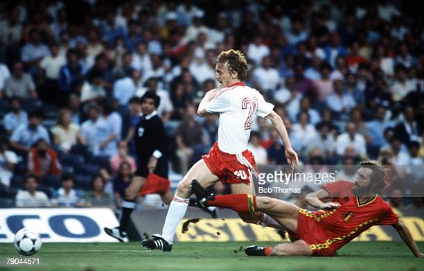World Cup Finals Second Phase Barcelona Spain 28th June Poland 3 v Belgium 0 Poland's Zbigniew Boniek is tackled by Belgium's Luc Millecamps