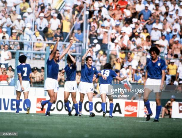World Cup Finals Second Phase Barcelona Spain 29th June Italy 2 v Argentina 1 Italy's Antoni Cabrini celebrates scoring his team's second goal with...