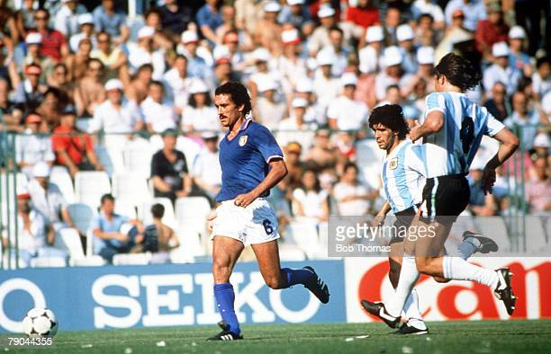 World Cup Finals Second Phase Barcelona Spain 29th June Italy 2 v Argentina 1 Italy's Claudio Gentile runs away with the ball from Argentina's Diego...