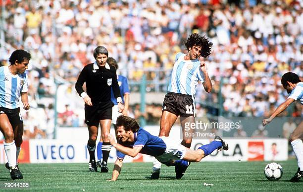World Cup Finals Second Phase Barcelona Spain 29th June Italy 2 v Argentina 1 Italy's Gabriele Oriali falls to the the ground after being fouled by...