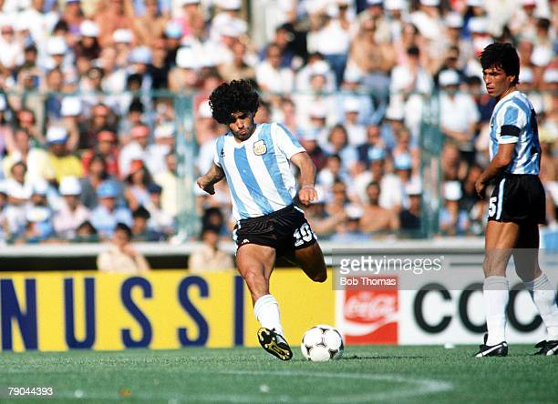 World Cup Finals Second Phase Barcelona Spain 29th June Italy 2 v Argentina 1 Argentina's Diego Maradona
