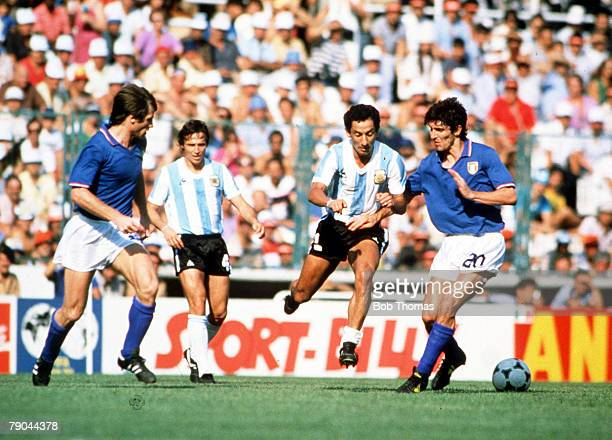 World Cup Finals Second Phase Barcelona Spain 29th June Italy 2 v Argentina 1Italy's Paolo Rossi clashes with Argentina's Osvaldo Ardiles