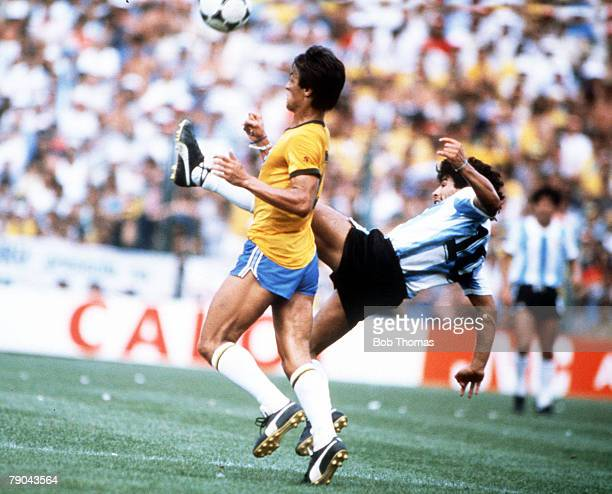 World Cup Finals Second Phase Barcelona Spain 2nd July Brazil 3 v Argentina 1 Argentina's Diego Maradona kicks high to beat Brazil's Leandro