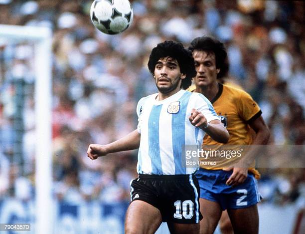 World Cup Finals Second Phase Barcelona Spain 2nd July Brazil 3 v Argentina 1 Argentina's Diego Maradona