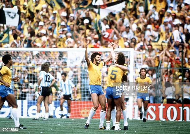World Cup Finals Second Phase Barcelona Spain 2nd July Brazil 3 v Argentina 1 Brazil's Socrates joins Falcao and Cerezo to celebrate their third goal...