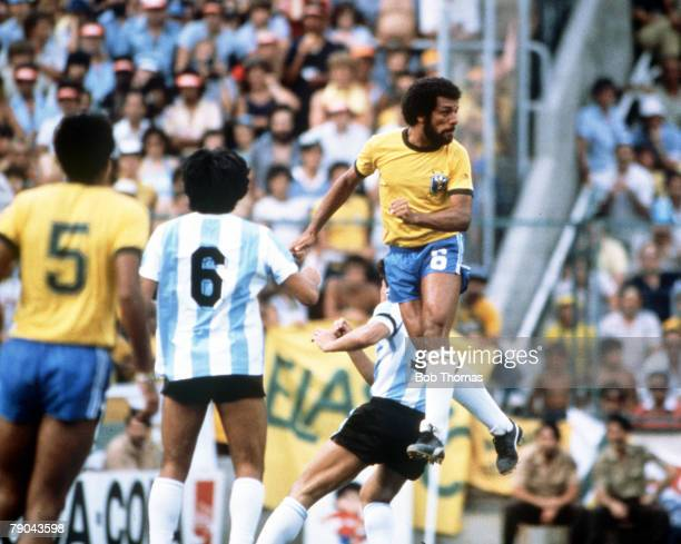 World Cup Finals Second Phase Barcelona Spain 2nd July Brazil 3 v Argentina 1 Brazil's Junior leaps high to clear the ball