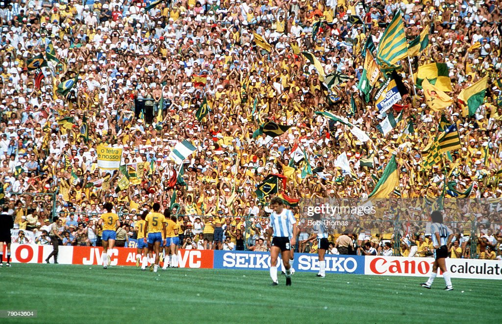 1982 World Cup Finals. Second Phase. Barcelona, Spain. 2nd July, 1982. Brazil 3 v Argentina 1. Brazilian fans celebrate their third goal scored by Junior. : News Photo