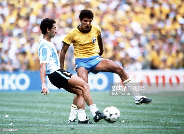 World Cup Finals Second Phase Barcelona Spain 2nd July Brazil 3 v Argentina 1 Argentina's Osvaldo Ardiles tackles Brazil's Toninho Cerezo