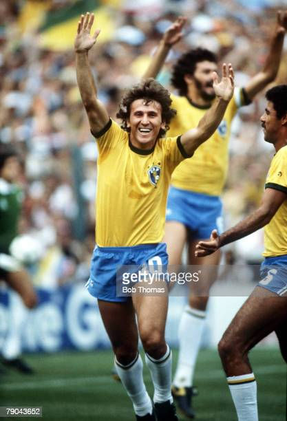 World Cup Finals Second Phase Barcelona Spain 2nd July Brazil 3 v Argentina 1 Brazil's Zico celebrates scoring his side's first goal