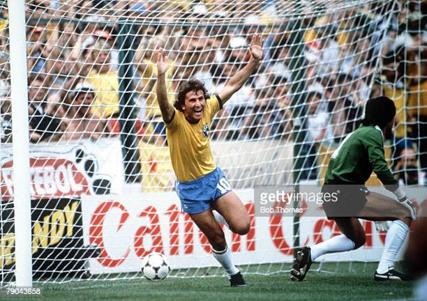 World Cup Finals Second Phase Barcelona Spain 2nd July Brazil 3 v Argentina 1 Brazil's Zico celebrates scoring his side's first goal past Argentina's...